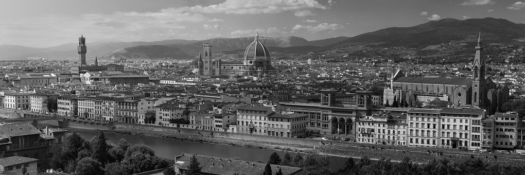 Florence, Italy, Tuscany, Black And White, Panoramic
