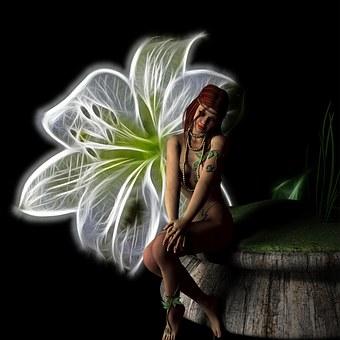 Fairy, Fantasy, Flower, Glow, Light, Black, Dark, Young