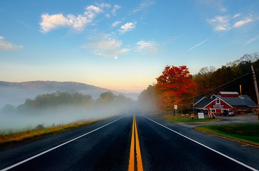 Massachusetts, Fall, Autumn, Colors, Sky, Clouds, Road