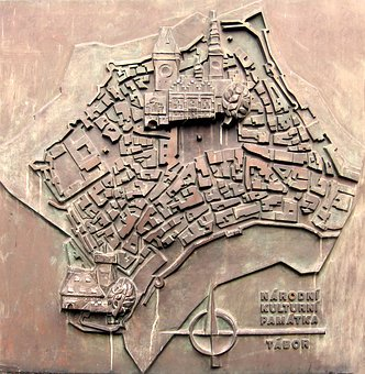Map, Tabor, Czech Republic, Relief, Bronze Relief
