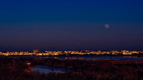 Cyprus, Paralimni, Town, Lake, Evening, Dusk, Moon