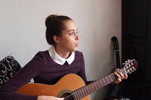 Girl, Guitar, Music, Whistle, Hands, Strings, Youth