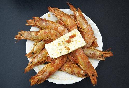 Shrimps And Feta, Greek Food, Food Photography, Seafood