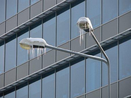 Street Lamp, Icicles, Winter, Snow, City
