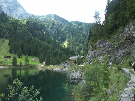 Gosausee, Dachstein, Lake, Mountains, Forest, Hut, Rock
