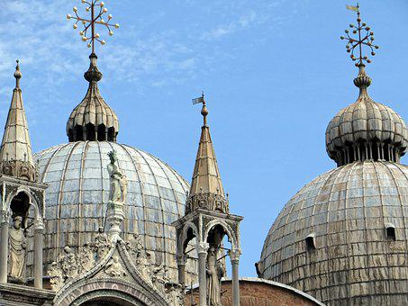 Italy, Venice, St-marc, Domes, Pinnacles, Roofing