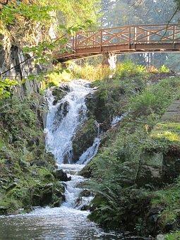 Waterfall, Bridge, Rocks, Pruhonice Park