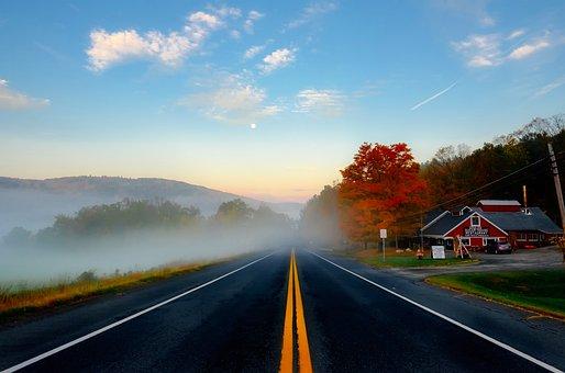 Massachusetts, Fall, Autumn, Colors, Sky, Clouds, Road