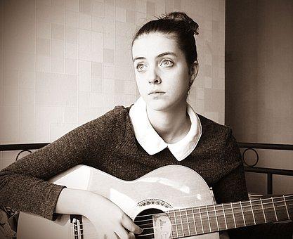 Girl, Sad, Staring, Music, Guitar, Strings, Inspiration