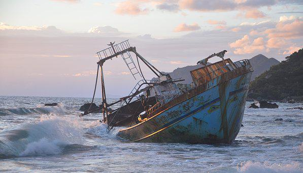 Wreck, Ship, Broken, Rotten, Sunken, Greece, Europe