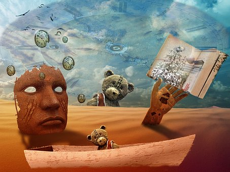 Abstract, Mask, Ted, Sand Clock Face