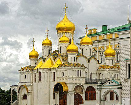 Russia, Moscow, Kremlin, Church, Orthodox, Bulbs, Gold