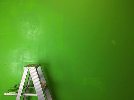 Ladder, Green, Greenscreen, Paint, Green Screen