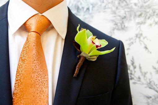Wedding, Groom, Flowers, Men's Suit, Orchid