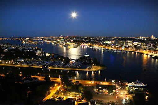 Amsterdam, Ij, Water, Moon, City, Outdoor, Lights