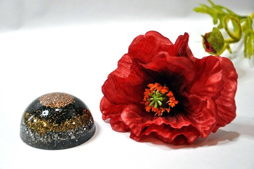 Semi Sphere, Orgone, Red Flower, Orgonite