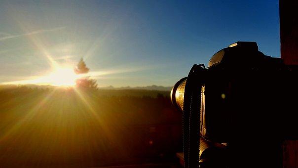 Camera, Nikon, Sunrise, Photograph, Photography, Lens