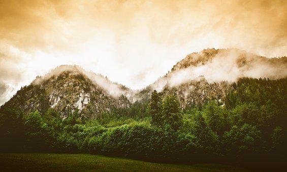 Germany, Landscape, Scenic, Mountains, Sunrise, Fog