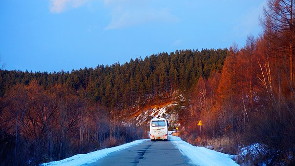 China, North-east, Changbai Mountain, Road, The Bus