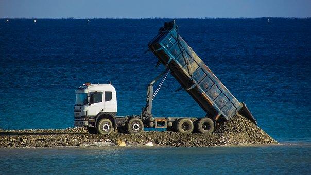 Truck, Lorry, Unload, Gravel, Embankment Fill, Vehicle