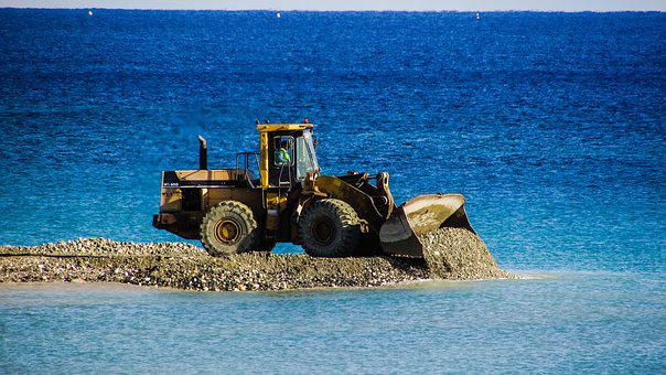 Bulldozer, Unload, Gravel, Embankment Fill, Vehicle
