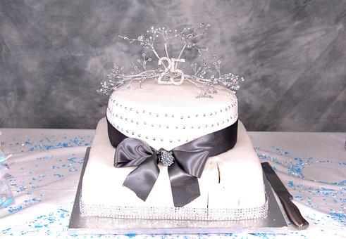 Bow, Cake, Celebration, Eat, Marriage, Wedding