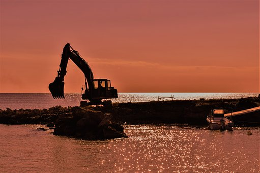 Digger, Working, Sunset, Afternoon, Cove, Boat, Scenery