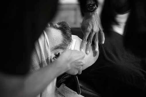 Barber, Barbershop, Shave, Shaving, Black And White