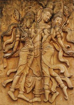Wall Plaque, Relief, Buddha, Bas-relief, Plaque, Wall