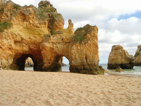 Algarve, Tresirmaos, Cliffs, Beach, Sand, Sea, Atlantic