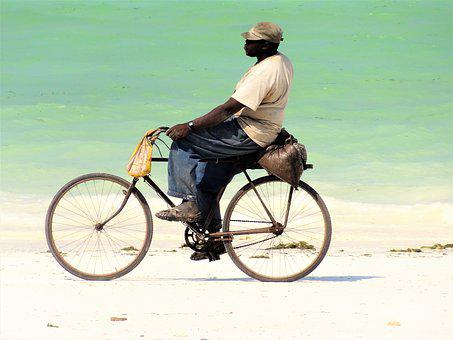 Beach, Velo Driver, Man, Cyclists