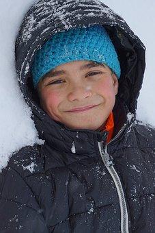 Boy, Snow, Anorak, Hood, Child, Face, Portrait, Winter
