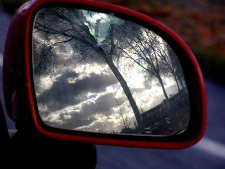 Rearview Mirror, Reflection, Red, Car, Car Mirror
