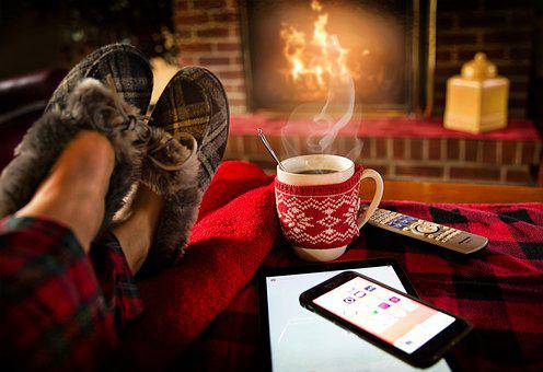 Relaxing, Lounging, Saturday, Cozy, Fireplace, Winter