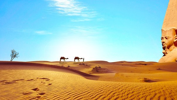 Egypt, Sahara, Desert, Dry, Camels, Temple, To Discover