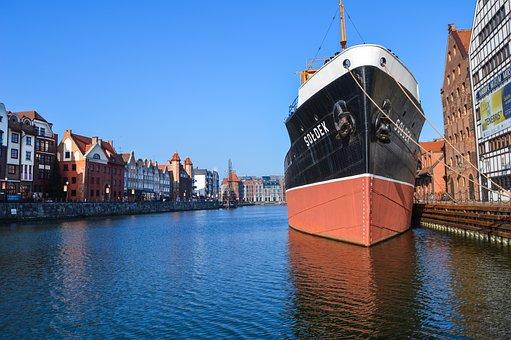 Ship, Poland, Gdansk, Harbor, Sea, Water, Blue, Dock