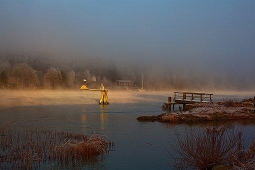 Winter Sun, Winter Morning, Gota River, Sweden, Water