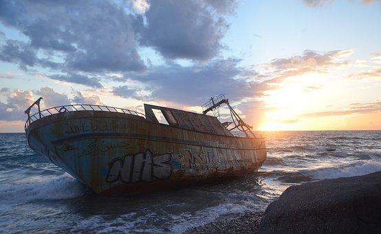 Wreck, Ship, Sunken, Greece, Boat, Old, Europe, Rusty