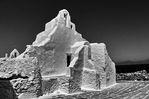 Black White, Chapel, Mykonos, Greece, Greek Island