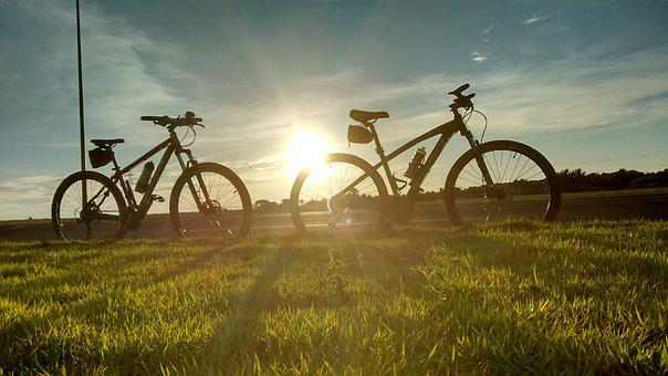 Bicycles, By Sunsets, Sol, Horizon, Ride, Nature