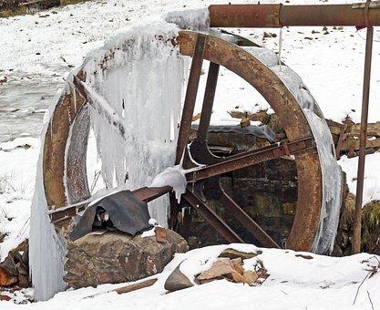 Waterwheel, Bach, Iced, Mill Wheel, Water Mill