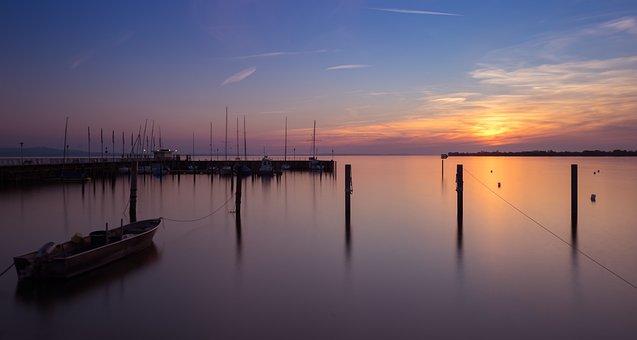Summer, Lake, Sunset, Long Exposure, Landscape, Boats