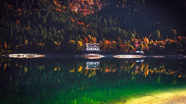 Lake Molveno, Italy, Landscape, Mountains, House