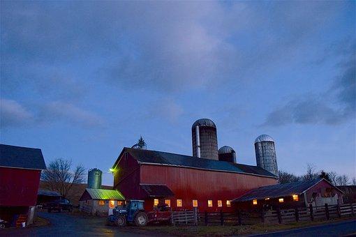 Barn, Sunrise, Lighting, Rural, Country, Sky, Farm