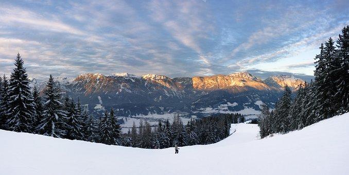 Panorama, Mountains, Afterglow, Dachstein Mountain