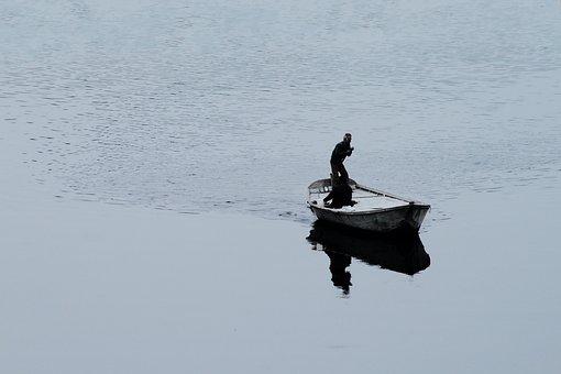 Boat, Swim, Man, Crossing, River, Water, Reflection