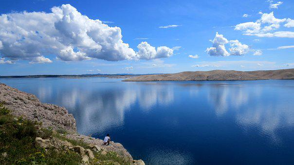 Clouds, Reflection, Sky, Mountains, Sea, Cove, View