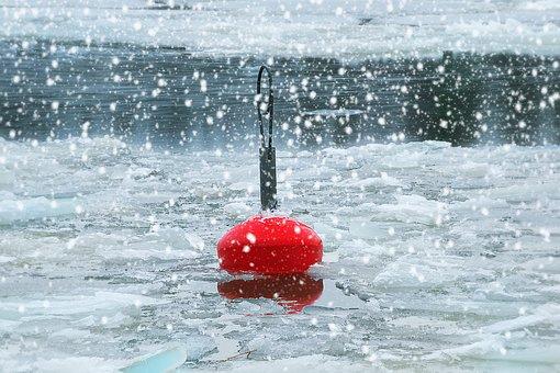 Buoy, Red, Sea, Winter, Ice, Snow Rain, Thaw, Sludge