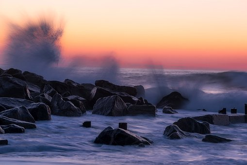 Sunset, Dusk, Sea, Ocean, Splash, Crashing, Waves