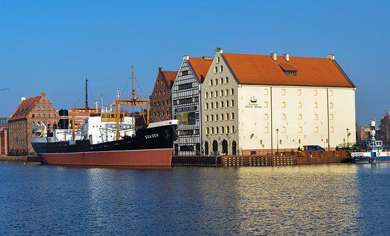 Ship, River, Boat, Poland, Blue, Water, Transport